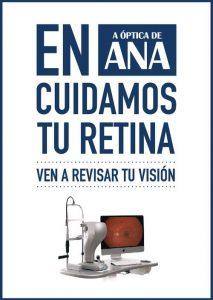 Cartel anunciando el cuidado de la vista en A Óptica de Ana