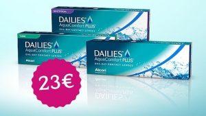 3 cajas de dailies Aquaconfort Plus y precio de 23€