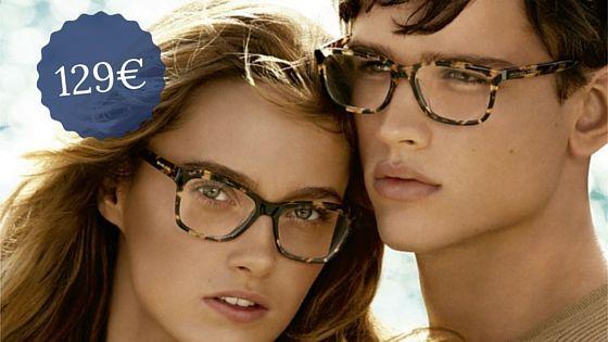 Chica y chico con gafas graduadas y precio de 129€