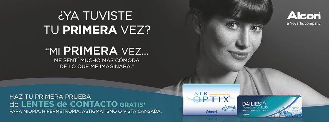 Cartel promocional para el uso de lentillas por primera vez.