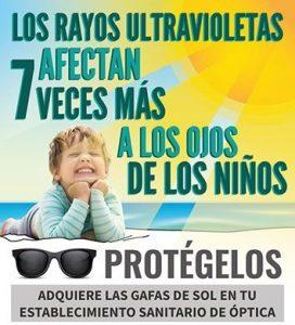 Los ojos de los niños son 7 veces más sensibles a los rayos ultravioleta, protégelos.
